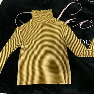 Yellow and Black striped turtleneck cropped shirt!